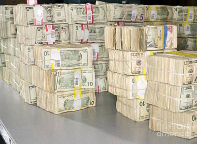 Us Bills In Bundles Print by Adam Crowley