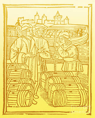 Wine Merchant, Medieval Tradesmen Print by Science Source