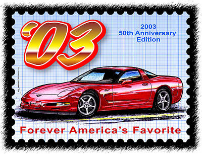 Special Edition Corvettes Drawing - 2003 50th Anniversary Edition Corvette by K Scott Teeters