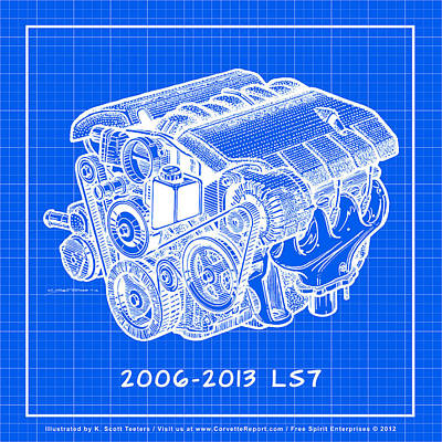 2006 - 2013 Z06 Ls7 Corvette Engine Reverse Blueprint Print by K Scott Teeters
