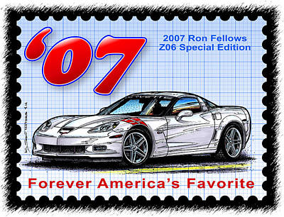 Special Edition Corvettes Drawing - 2007 Ron Fellows Z06 Special Edition Corvette by K Scott Teeters