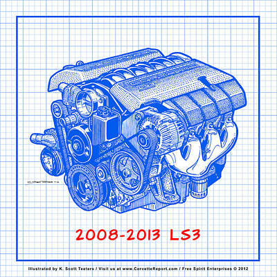 2008-2013 Ls3 Corvette Engine Blueprint Print by K Scott Teeters