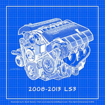 2008-2013 Ls3 Corvette Engine Reverse Blueprint Print by K Scott Teeters