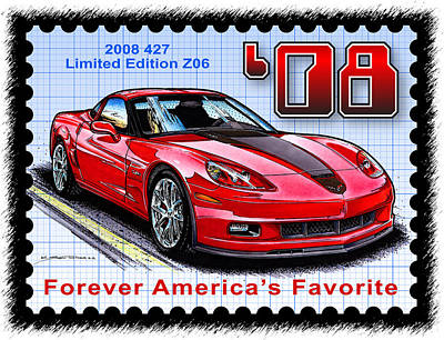 Special Edition Corvettes Drawing - 2008 427 Limited Edition Z06 by K Scott Teeters