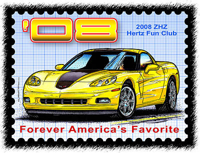Special Edition Corvettes Drawing - 2008 Zhz Hertz Fun Club Corvette by K Scott Teeters