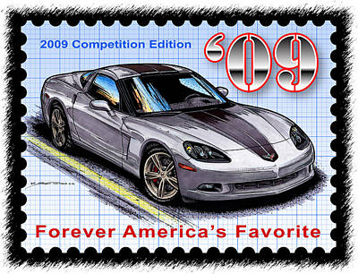Special Edition Corvettes Drawing - 2009 Competition Edition Corvette by K Scott Teeters