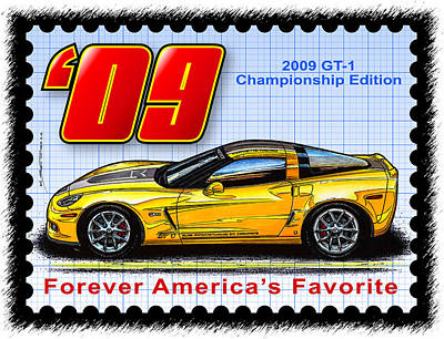 Special Edition Corvettes Drawing - 2009 Gt-1 Championship Edition Corvette by K Scott Teeters