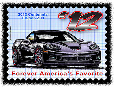 Special Edition Corvettes Drawing - 2012 Centennial Edition Zr1 Corvette by K Scott Teeters
