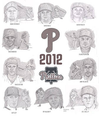 Cole Hamels Drawing - 2012 Phightin' Phils by Chris  DelVecchio