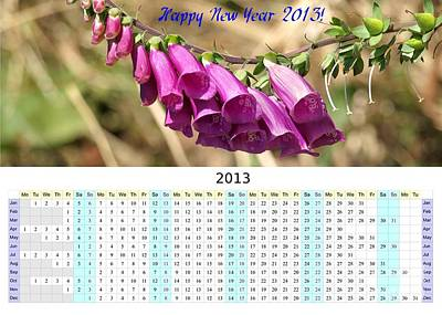 Foxglove Flowers Photograph - 2013 Wall Calendar With Foxglove Flower by Yali Shi