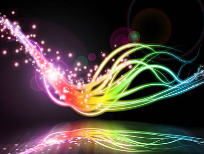 Multicolored Digital Art - Abstract Lighting Effect  by Setsiri Silapasuwanchai
