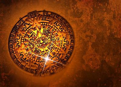 Handcarved Photograph - Aztec Sun Stone, Artwork by Victor Habbick Visions