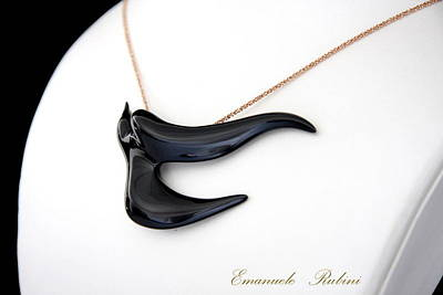 Ciondolo Jewelry - Black  Swallow Rondine Nera Unique Jewel Of The Collection Dedicated To Amy Winehouse by Emanuele Rubini