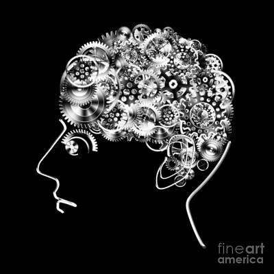 Brain Design By Cogs And Gears Print by Setsiri Silapasuwanchai