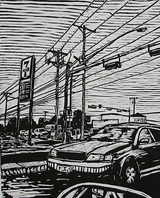 Linoluem Drawing - Burnet Road by William Cauthern