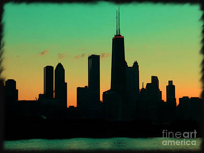 Chicago Skyline Cartoon Print by Sophie Vigneault