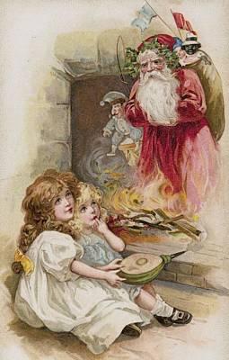 Santa Claus Painting - Christmas Card by American School