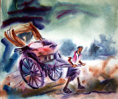 Hand Pulling Rickshaw Painting - Diluted Image by Jaspal Singh