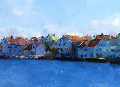 Haugesund Harbour Print by Michael Greenaway