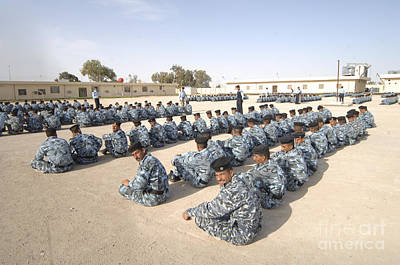 Iraqi Police Cadets Being Trained Print by Andrew Chittock