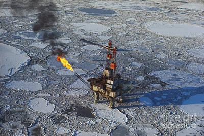 Offshore Oil Drilling Platform, Alaska Print by Joe Rychetnik
