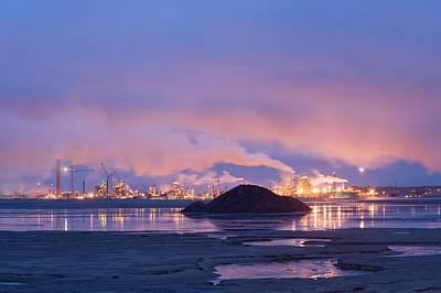 Oil Refinery At Night Print by David Nunuk
