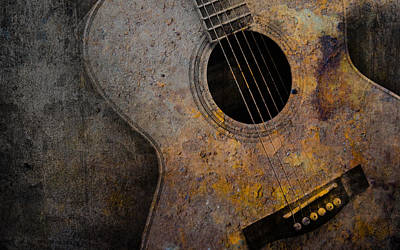 Old Sheet Music Mixed Media - Old Guitar by Nattapon Wongwean