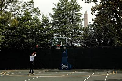 President Barack Obama Shoots Hoops Print by Everett