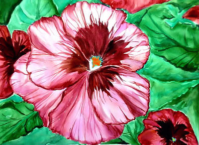 Green Color Painting - Pretty In Pink by Karen Conine