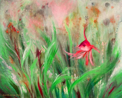 Red Fish Print by Gina De Gorna