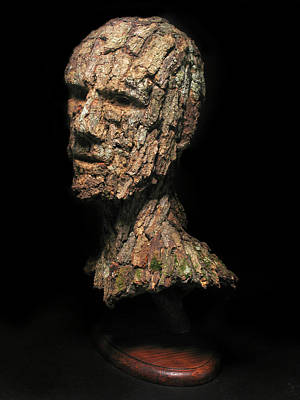 Surrealism Sculpture - Revered  A Natural Portrait Bust Sculpture By Adam Long by Adam Long