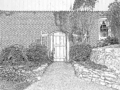 Changing Leaves Drawing - Stone Hill Winery by Joseph Hendrix