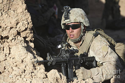 U.s. Marine Provides Security Print by Stocktrek Images