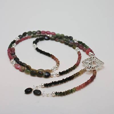 Swarovski Crystal Jewelry - 3590 Watermelon Tourmaline And Swarovski Crystal Necklace by Teresa Mucha