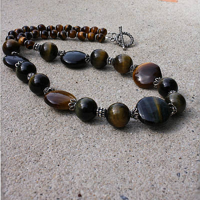 3595 Tigereye And Bali Sterling Silver Necklace Original by Teresa Mucha