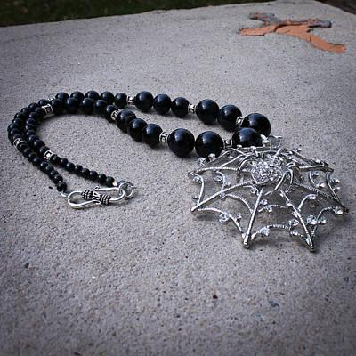 Sterling Silver Pendants Jewelry - 3596 Spiderweb Rhinestone Pendant Necklace by Teresa Mucha