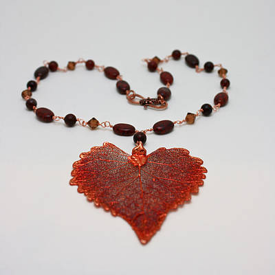Round Beads Jewelry - 3610 Iridescent Copper Plated Cottonwood Leaf Pendant Necklace by Teresa Mucha