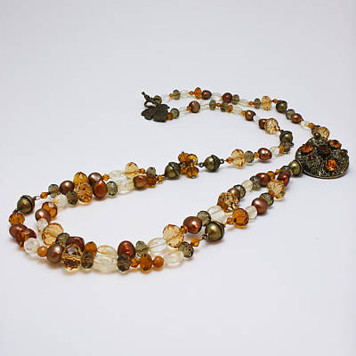 3615 Long Pearl Crystal And Citrine Necklace Featuring Vintage Brass Brooch  Print by Teresa Mucha