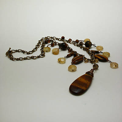 Citrine Jewelry - 3618 Tigereye And Citrine Necklace by Teresa Mucha