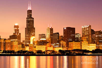 Chicago Skyline At Night Print by Paul Velgos