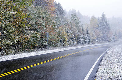 Fall Color And Snow Along The Highland Scenic Highway Print by Thomas R Fletcher