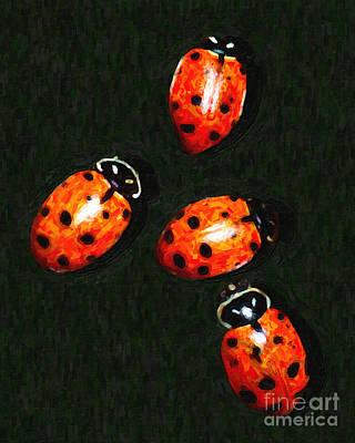 Ladybug Digital Art - 4 Ladybugs by Wingsdomain Art and Photography