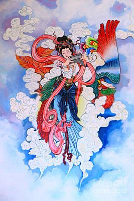 tradition Chinese painting on wall  Print by Phalakon Jaisangat