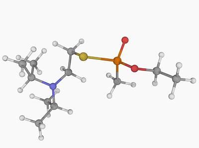 Biochemical Digital Art - Vx Nerve Agent Molecule by Laguna Design
