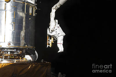 Astronaut Working On The Hubble Space Print by Stocktrek Images