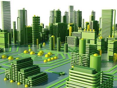 Circuit City, Computer Artwork Print by Pasieka