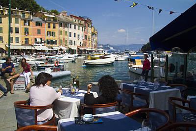 Outdoor Cafes Photograph - Portofino In The Italian Riviera In Liguria Italy by David Smith