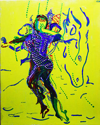 Dinka Wedding Painting - Dinka Dance - South Sudan by Gloria Ssali