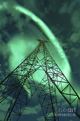 Component Photograph - Powerlines And Aurora Borealis by Arild Heitmann