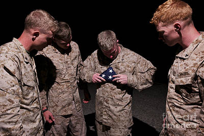 U.s. Marines Fold The American Flag Print by Terry Moore